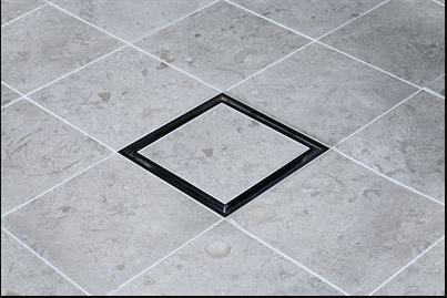 Tile In Black golvbrunnssil